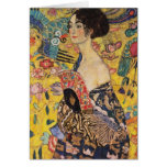 Beautiful Woman with Fan by Klimt Greeting Card