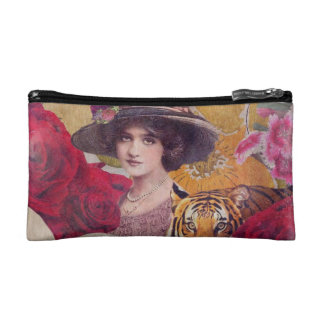 Beautiful Woman With Tiger Flowers Cosmetic Bag