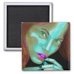 Beautiful Woman's Portrait in Fluorescent Colors 2 Inch Square Magnet