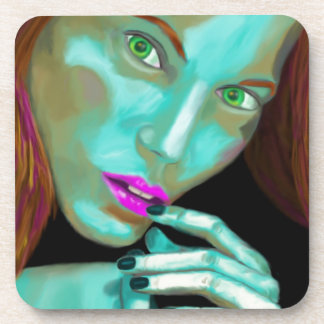 Beautiful Woman's Portrait in Fluorescent Colors Coaster
