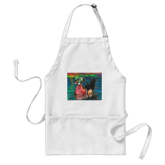 Beautiful Wood Duck Sunset Watercolor Art Adult Apron