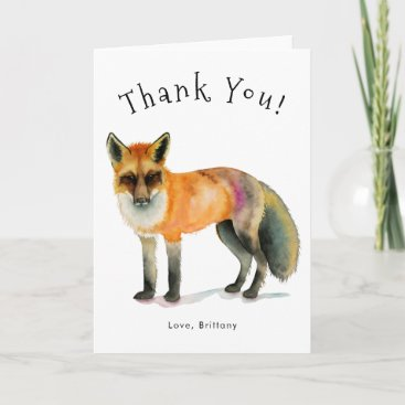 Beautiful Woodland Fox Watercolor Thank You Card