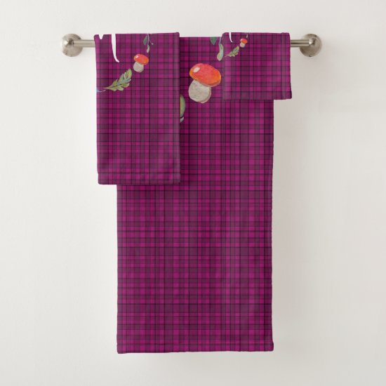 Beautiful Woodland Scottish Pink Tartan Monogram Bath Towel Set