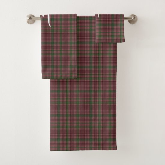 Beautiful Woodland Swag Red Green Tartan Monogram Bath Towel Set