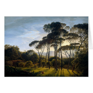 Beautiful woodlands scene vintage painting card