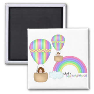 Beautiful World! 2 Inch Square Magnet