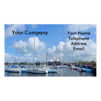 Beautiful Yacht Harbor with Sailing Ships Double-Sided Standard Business Cards (Pack Of 100)