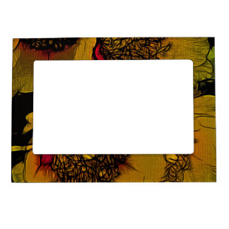Beautiful Yellow Abstract Flowers Magnetic Frame