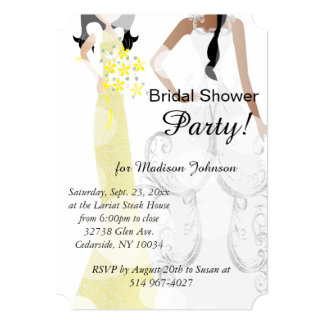 Beautiful Yellow and Black Bridal Shower 5x7 Paper Invitation Card