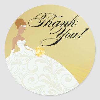 Beautiful Yellow and White Luxe Thank You Classic Round Sticker