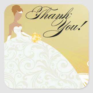 Beautiful Yellow and White Luxe Thank You Square Sticker