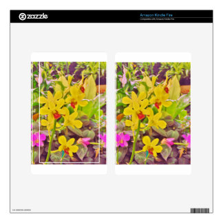 Beautiful Yellow autumn orchids Skin For Kindle Fire
