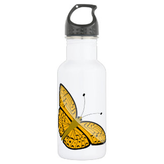 Beautiful yellow butterfly animation illustration stainless steel water bottle