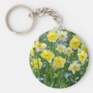 Beautiful yellow daffodil garden keychain