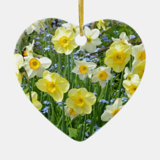 Beautiful yellow daffodil garden Double-Sided heart ceramic christmas ornament