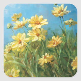 Beautiful Yellow Daisies Square Stickers