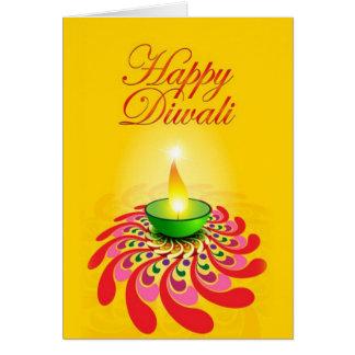 Beautiful Yellow Diwali Lamp Card