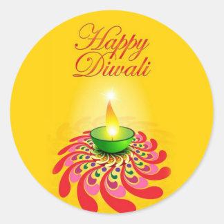 Beautiful Yellow Diwali Lamp Classic Round Sticker