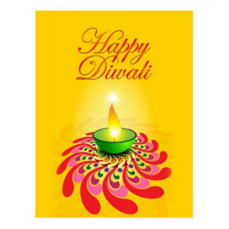 Beautiful Yellow Diwali Lamp Postcard