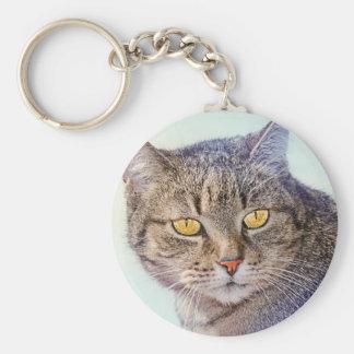 Beautiful yellow eyed cat portrait basic round button keychain
