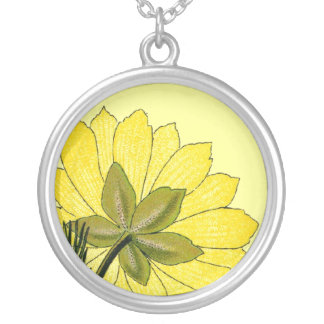 Beautiful Yellow flower Round Pendant Necklace