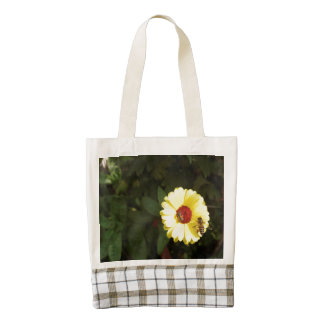 Beautiful yellow flower with small bee zazzle HEART tote bag