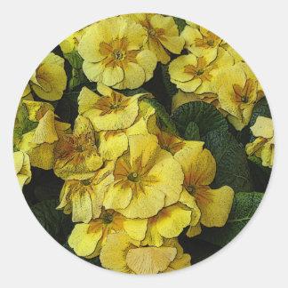 Beautiful yellow flowers classic round sticker
