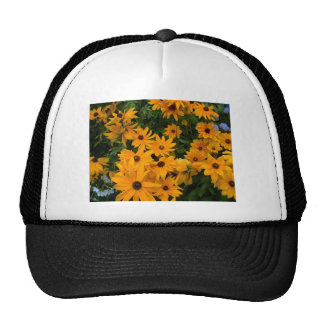 Beautiful yellow flowers in full bloom in summer trucker hat