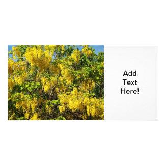Beautiful yellow flowers of the Golden Rain Tree Photo Card Template
