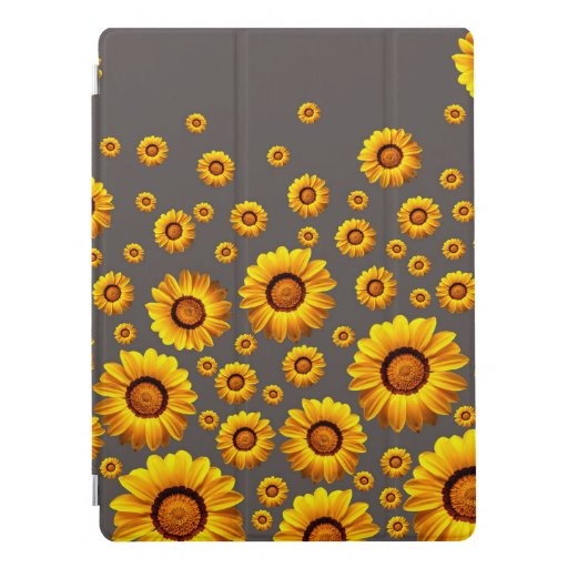 Beautiful yellow flowers on gray background  iPad pro cover