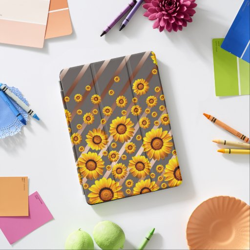 Beautiful yellow flowers on gray, brown stripes   iPad pro cover