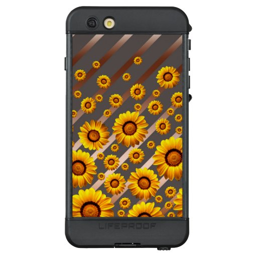 Beautiful yellow flowers on gray, brown stripes  LifeProof NÜÜD iPhone 6s plus case