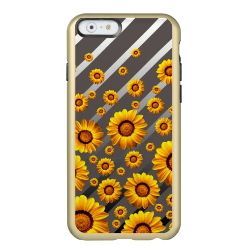 Beautiful yellow flowers on gray, silver stripes   incipio feather shine iPhone 6 case