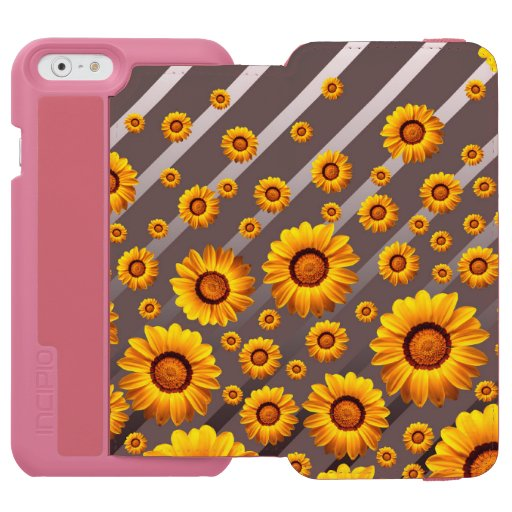 Beautiful yellow flowers on gray, silver stripes   iPhone 6/6s wallet case
