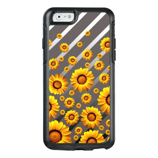 Beautiful yellow flowers on gray, silver stripes  OtterBox iPhone 6/6s case