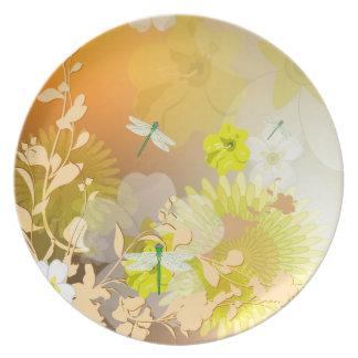Beautiful yellow flowers plate