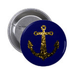 Beautiful Yellow Gold sparkles Anchor button