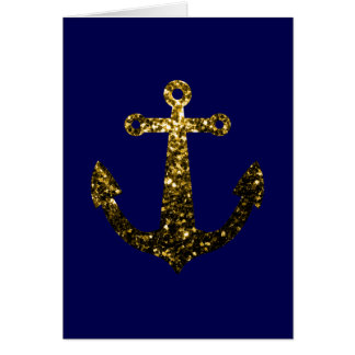 Beautiful Yellow Gold sparkles Anchor Greeting Card