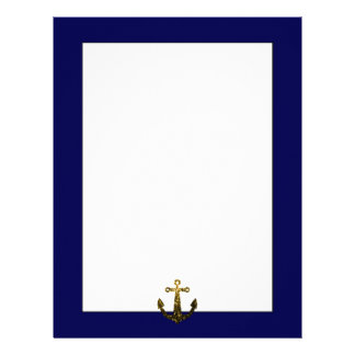 Beautiful Yellow Gold sparkles Anchor Letterhead