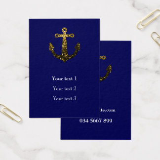 Beautiful Yellow Gold sparkles Anchor on navy blue Business Card