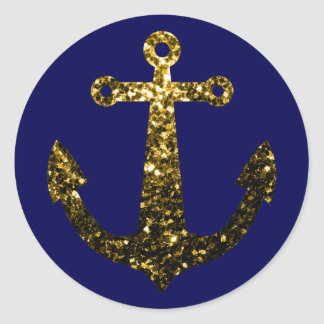 Beautiful Yellow Gold sparkles Anchor on Navy Blue Classic Round Sticker
