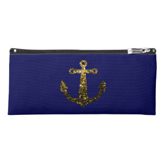 Beautiful Yellow Gold sparkles Anchor on Navy Blue Pencil Case