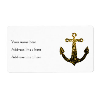 Beautiful Yellow Gold sparkles Anchor white label Shipping Label
