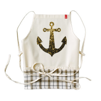 Beautiful Yellow Gold sparkles Anchor Zazzle HEART Apron