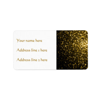 Beautiful Yellow Gold sparkles Address Label