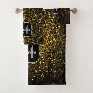 Beautiful Yellow Gold Sparkles Monogram Bath Towel Set
