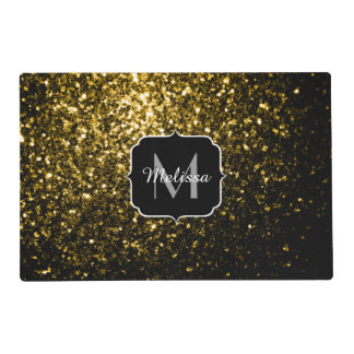 Beautiful Yellow Gold sparkles Monogram Placemat