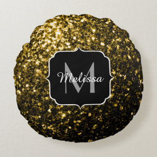 Beautiful Yellow Gold sparkles Monogram Round Pillow