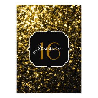 Beautiful Yellow Gold sparkles Sweet 16 5.5x7.5 Paper Invitation Card