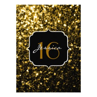 Beautiful Yellow Gold sparkles Sweet 16 Custom Announcements